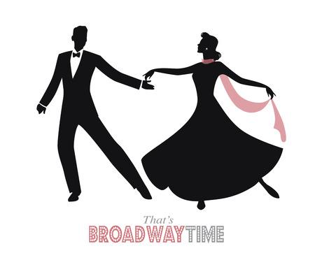 footwork: Elegant retro style silhouette dancing couple.