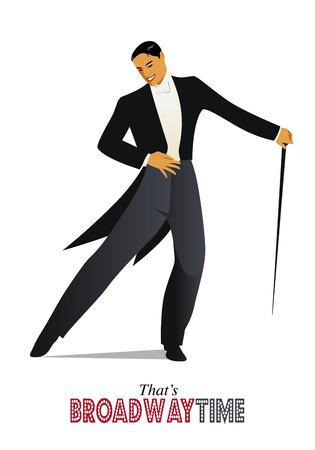 footwork: Elegant retro style man dancing.