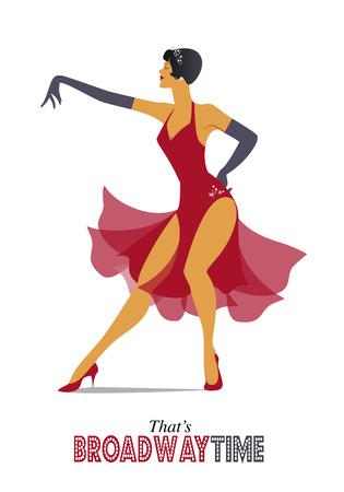 La mujer elegante y sexy bailando estilo retro.