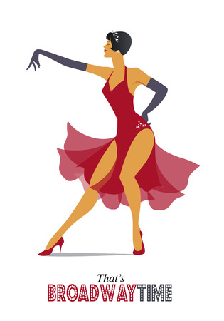 Elegant and sexy woman dancing retro style. Illustration