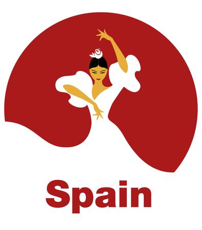 Flamenco Dancer woman. Logo spanish flamenco. Vettoriali