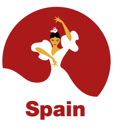 Flamenco Dancer woman. Logo spanish flamenco. Illusztráció