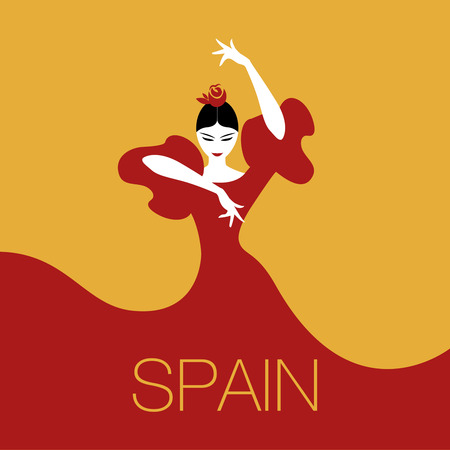 Flamenco Dancer woman. Logo spanish flamenco. 矢量图像