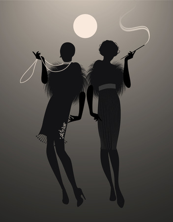 Two elegant flapper girl silhouettes under the moon Stock Illustratie