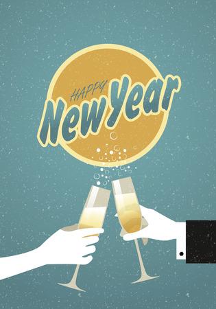 Une main tenant un verre de champagne de grillage pour le réveillon du Nouvel An Vecteurs