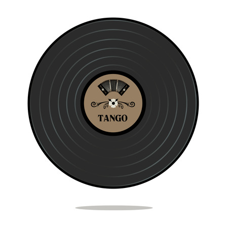 bandoneon: Old Tango disc. Retro style. Bandoneon and traditional ornaments.