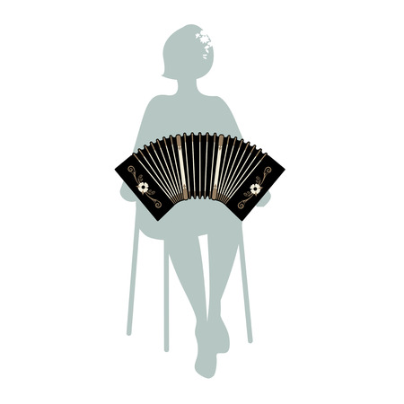 Woman silhouette playing bandoneon. Traditional tango musical instrument.
