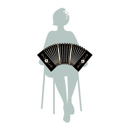 bandoneon: Woman silhouette playing bandoneon. Traditional tango musical instrument.