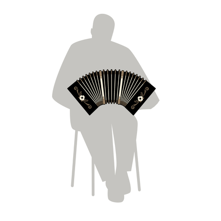 bandoneon: Man silhouette playing bandoneon. Traditional tango musical instrument.