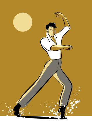 bailarin hombre: Bailaora diseño de la tinta hombre