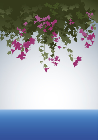 Bougainvillea flowers. View to the sea. Vector Illustration. Layered.
