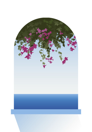 balcony view: Bougainvillea flowers. Sea view through a window. Vector Illustration.