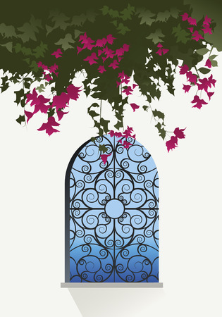 grille: Bougainvillea flowers. Sea view through a window with decorated grille Illustration