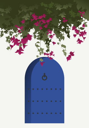 mediterranean: Bougainvillea flowers and blue door in traditional mediterranean house Illustration