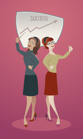 50s: Two business women proud of their success. Cartoon retro style 50s and 60s