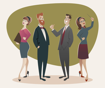 50s: Business men and women proud of their success. Cartoon retro style 50s and 60s Illustration
