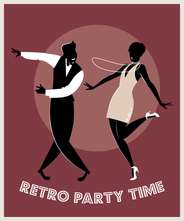 Funny couple dancing charleston. Cartoon retro style Illustration