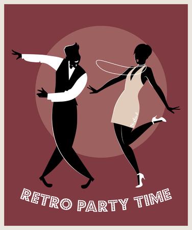 Funny couple dancing charleston. Cartoon retro style Illustration