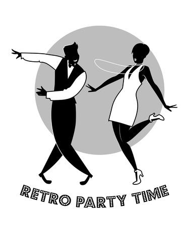 Funny couple dancing charleston. Cartoon retro style Vettoriali