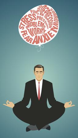 Homme d'affaires faisant du yoga. Méditation. Relaxant et lâcher des difficultés. Style rétro.