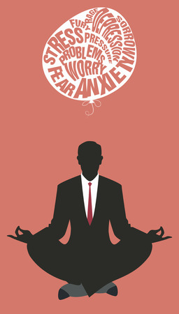 letting: Businessman doing yoga. Meditation. Relaxing and letting go of the difficulties. Retro style.