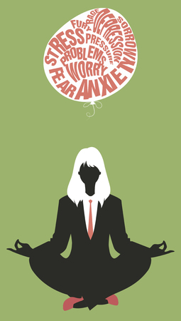letting: Businesswoman doing yoga. Meditation. Relaxing and letting go of the difficulties. Retro style.