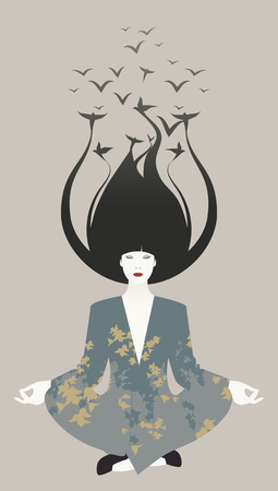 freedom woman: Beautiful young oriental woman doing yoga. Birds on your hair. Freedom symbol. Illustration