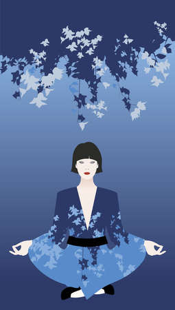 Beautiful young oriental woman wearing a kimono doing yoga under blue flowers. Calm and relax symbol.