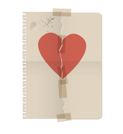 repaired: Broken heart painted on the sheet of a notebook and repaired with adhesive tape. Vector Illustration
