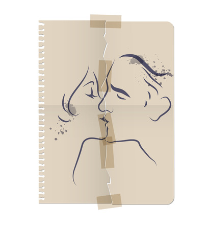 reconciliation: Drawing of a couple kissing on a sheet of torn paper and taped with tape. Vector Illustration Illustration