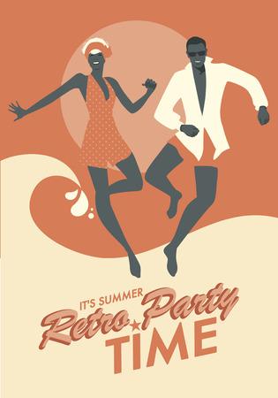 Grappig paar dragen bad kleding dansen en springen op het strand. Retro stijl. Stock Illustratie
