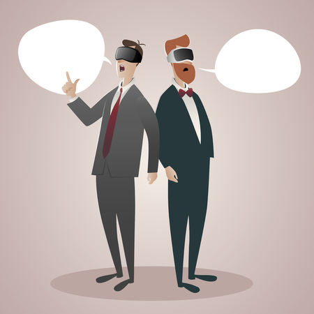 Two businessmen wearing 3D virtual reality glasses talking about it. Speech Balloons. Vector Illustration cartoon style.