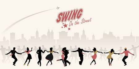 Group of young people dancing swing, lindy or rock'nroll on the street Vectores