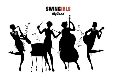 Women Orchestra. Four girl playing jazz, swing or charleston. Vector Illustration isolated. White background