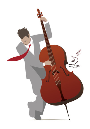 rockabilly: Elegant man playing double bass isolated on white background. Vector illustration. Illustration