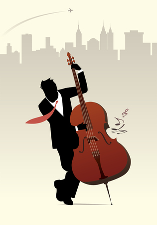contra bass: Elegant man silhouette playing double bass on skyline city background. Vector illustration. Illustration