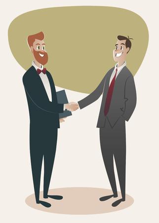 Twee zakenmannen handen schudden. vector cartoon Stock Illustratie