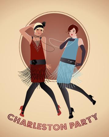flappers: Dos chicas bailando Charleston flappers. Ilustración del vector