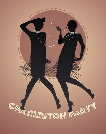 flapper: Silhouettes of two flapper girls dancing charleston. Vector illustration Vectores