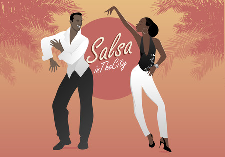 Young afro american couple dancing salsa. Vector illustration.