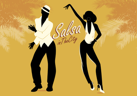 Young couple dancing silhouettes salsa or latin music. vector illustration