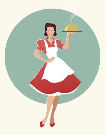 主婦が夕食のトレイを運ぶします。レトロなスタイル。ベクトル図