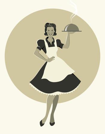 Huisvrouw die een dienblad draagt met avondeten. Retro stijl. Vectorillustratie Stock Illustratie