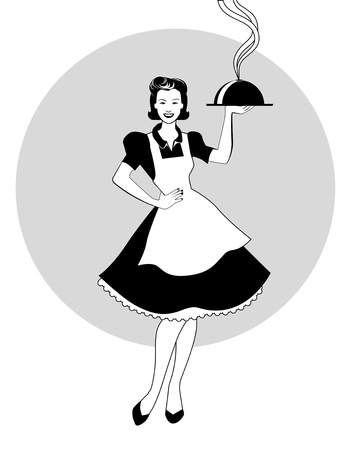 Housewife carrying a tray with dinner. Retro style. Vector Illustration Vector Illustration