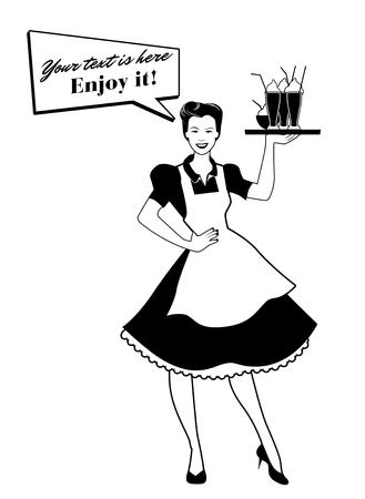 Schöne Kellnerin, die ein Tablett von Smoothies und von Eiscreme trägt