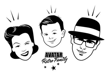 Avatar Retro familie. Cartoon gezichten retro-stijl. Vector illustratie.