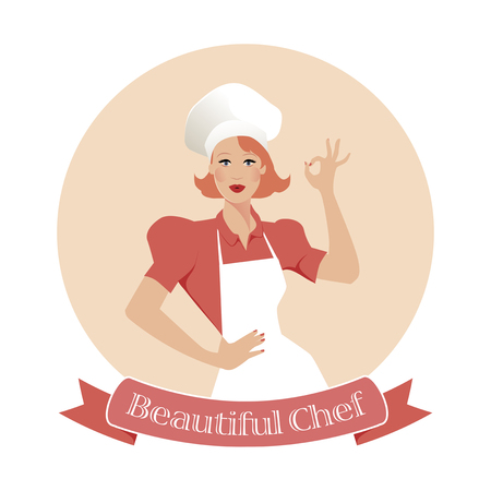 Beautiful Chef. Restaurant emblem retro Style