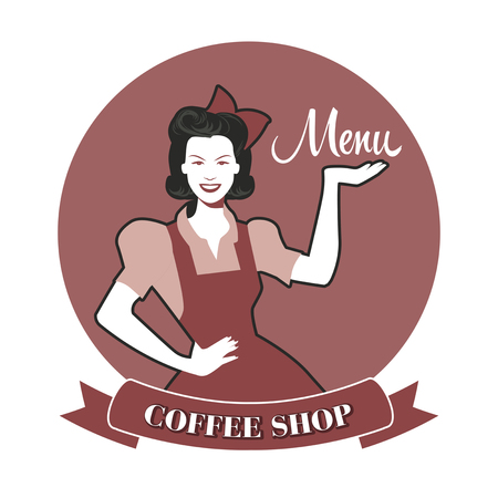 Beautiful waitress presenting the coffee shop menu. Retro Style