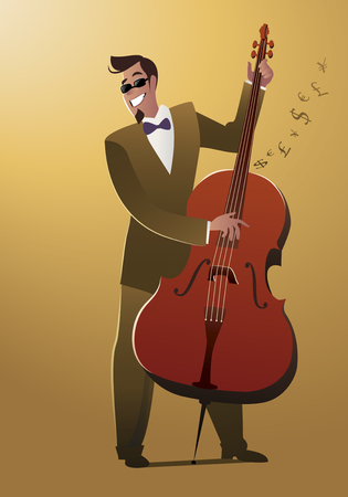 Money Melody. Double bass player playing a song that sounds like money