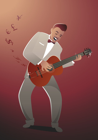 Money Melody. Guitar player playing a song that sounds like money Illustration